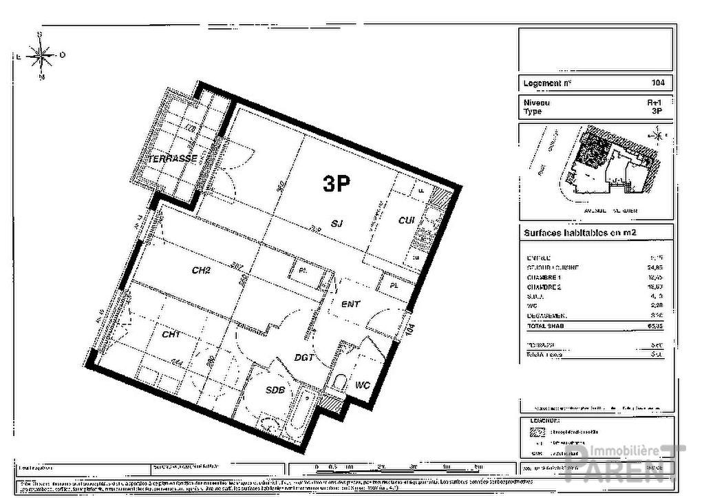 Appartement Montrouge 3 pièce(s) 65,25 m2