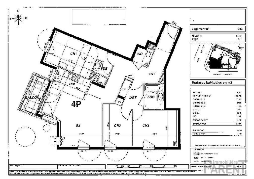 Appartement Montrouge 4 pièce(s) 85,80 m2