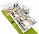A vendre beau T4 de 73 m2 en rez-de-chaussée avec une terrasse et un jardinet