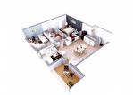 A vendre appartement T3 de 64 m2 au 3ème étage exposé ouest